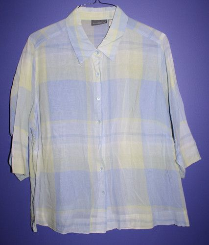 Blue Green Button Up Short Sleeve Blouse Women's 2X Missing One Button