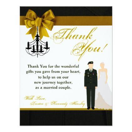 4x5 Flat Thank You Card Army Uniform Groom Bride Zazzle