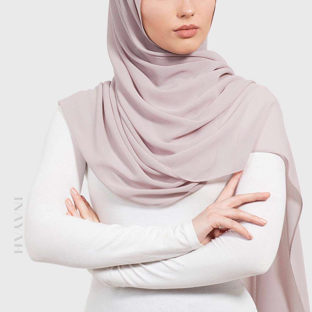 Perfect hijab styling for all seasons. Shop our Soft Crepe hijabs in Regular, Maxi and Sqaure. Washed Lilac Grey Soft Crepe Hijab www.inayah.co