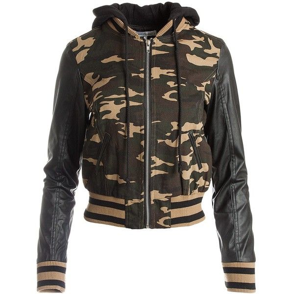 Sans Souci Camo bomber hoody jacket (870 MXN) ❤ liked on Polyvore featuring  outerwear 0ff3279a97d
