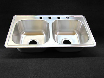 33 X 19 X 8 Double Bowl Stainless Kitchen Sink Extra Deep 8 Bowls Great For Those Big Sinks Kitchen Stainless Double Bowl Kitchen Sink Double Kitchen Sink