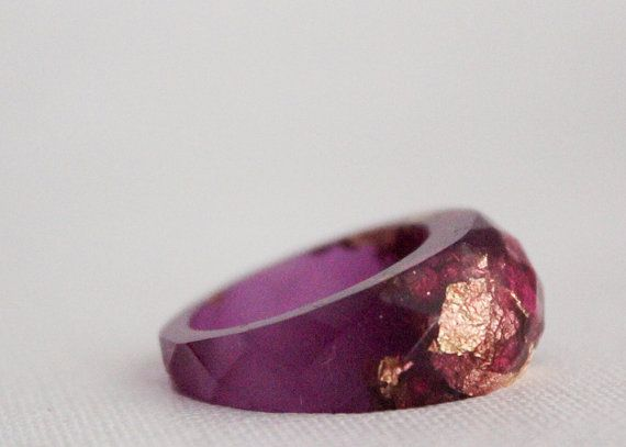 RESERVED  very purple and gold size 8 multifaceted by RosellaResin, $30.00