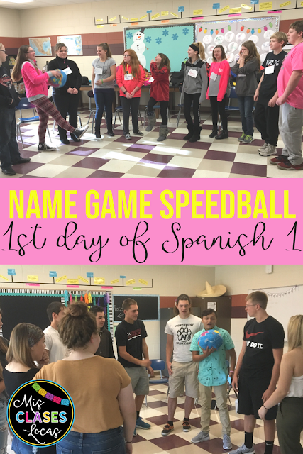 1st Day of Spanish 1 - Name Game Speedball - Mis Clases Locas