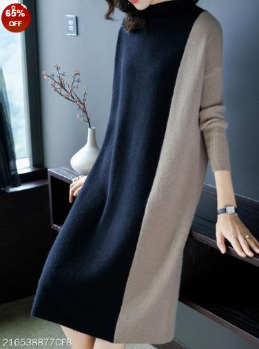 Round Neck Color Block Shift Dress #autumnseason