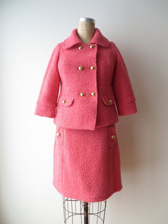 Vintage 1960's Style/Pink Jacket and Skirt Set/ Pink Boucle