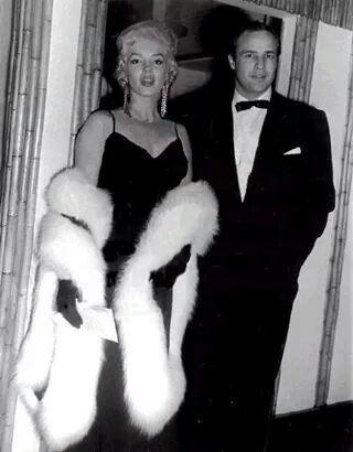 "1955 Marilyn Monroe & Marlon Brando @ the premier of "" The Rose Tattoo """