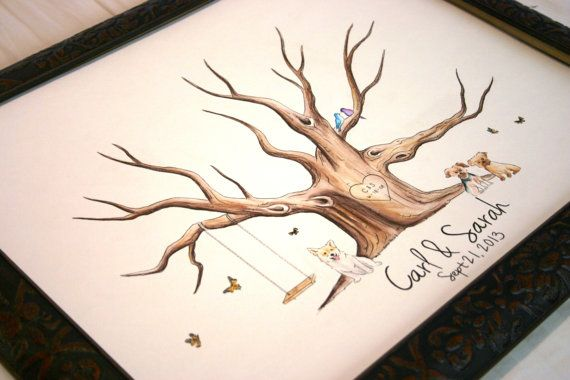 Wedding Guest Book Tree Thumbprint Tree Hand Painted Custom Rustic