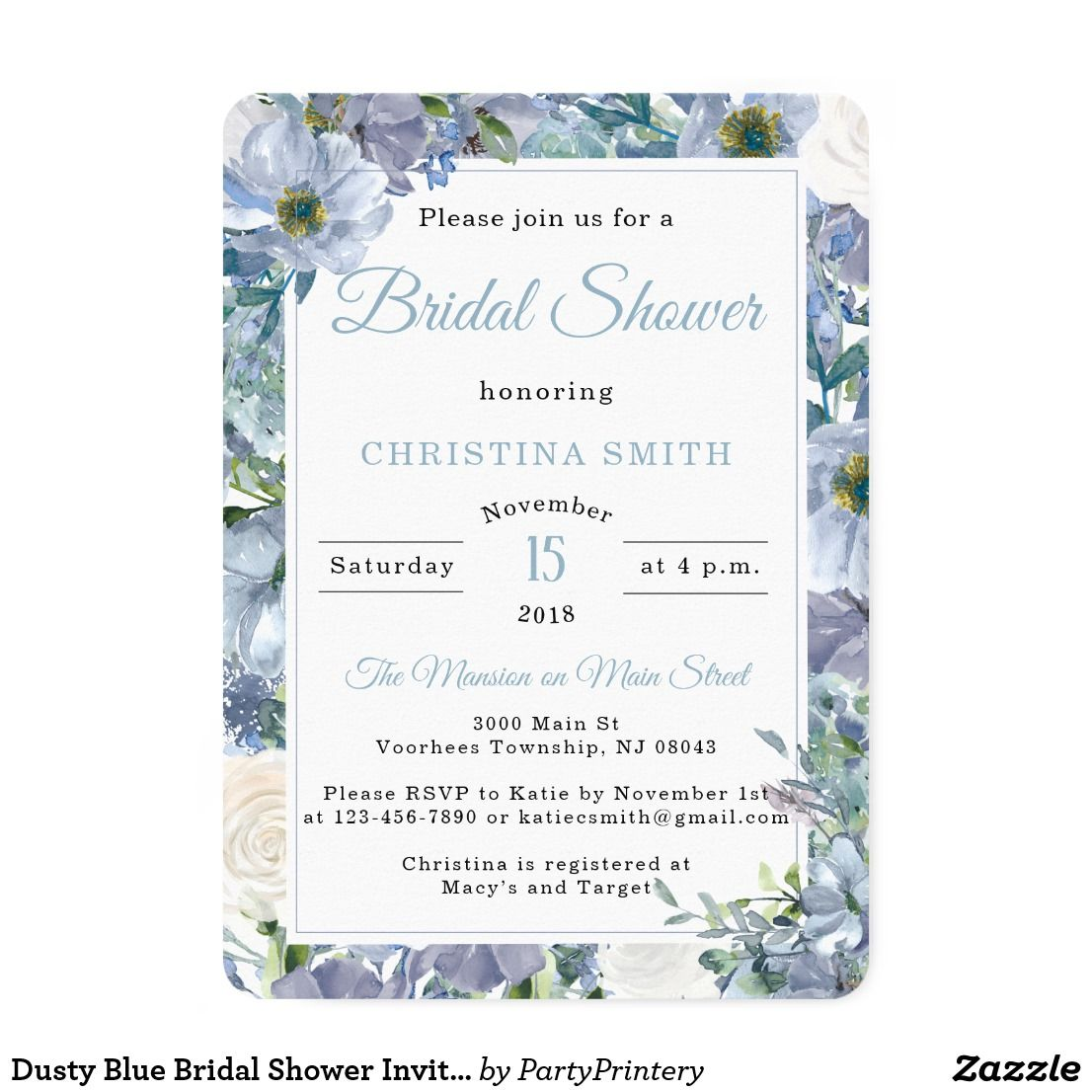 ba81a25f1d25 Dusty Blue Bridal Shower Invitations in 2018