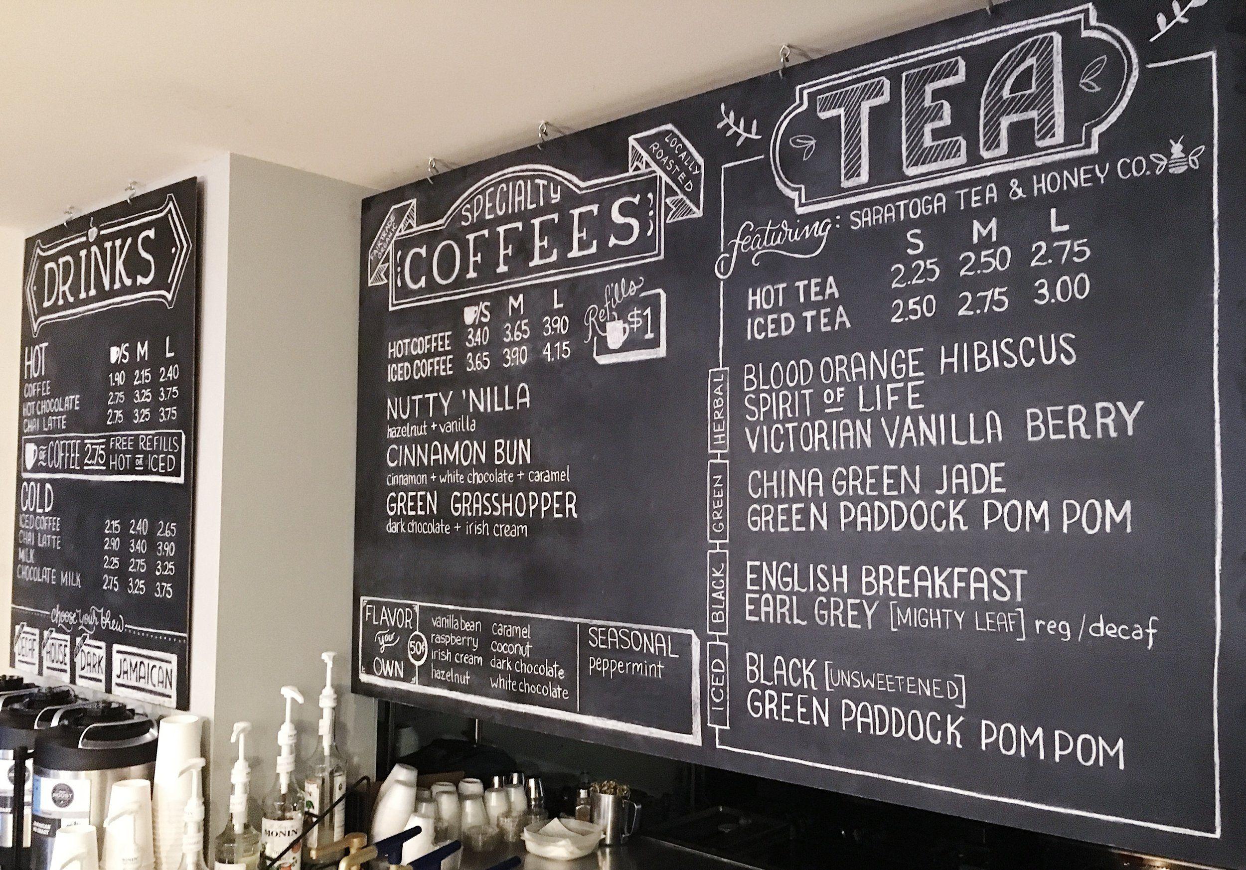 Pin By Alyssa Cavallari On Crafting And Calligraphy Chalkboard Restaurant Coffee Shop Menu Coffee Chalkboard