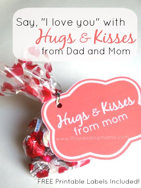 Hugs And Kisses From Dad And Mom Valentines For Kids Valentines