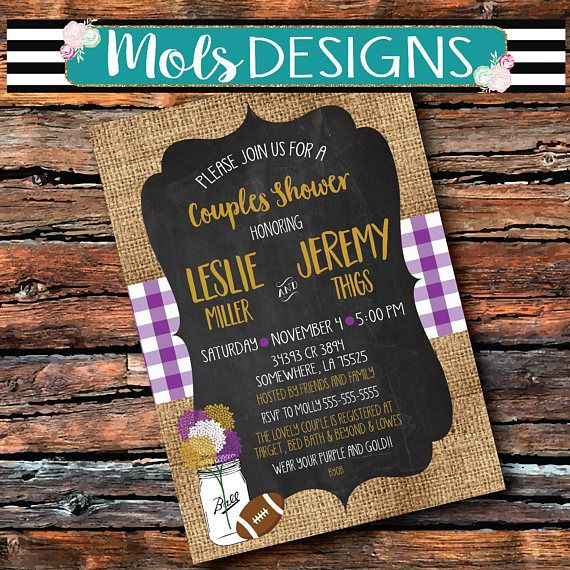 Any Color Couples Shower TAILGATE Beer FOOTBALL Burlap Purple   Gold ... f2dacddee5