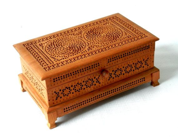 Antique Fretwork Carved Wooden Jewelry Box with Purple Velvet Lining