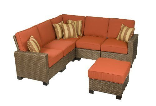 Kingswood Patio Furniture Set 6 Piece Sectional Red Wicker By La Z Boy Outdoor Patio Sofa Set Patio Furniture Sets Patio Set