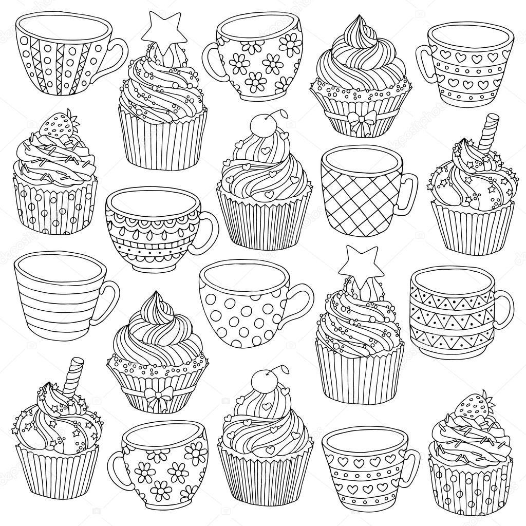 скачать вектор рисованной чашки кекс иллюстрация для