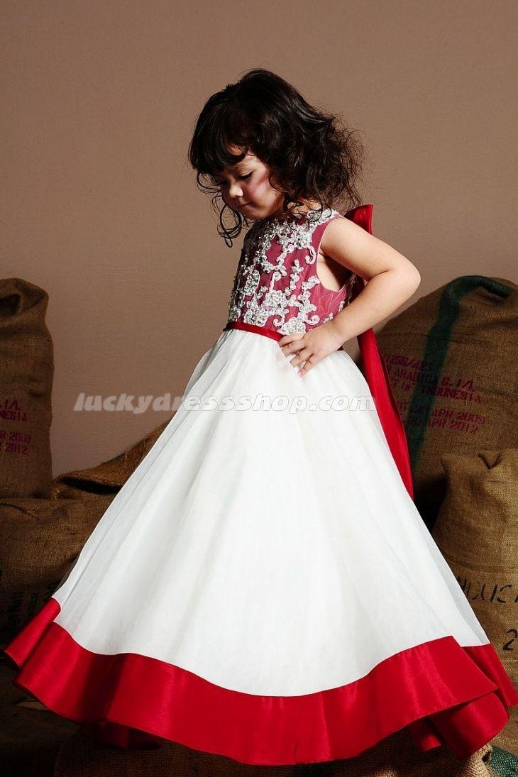 White Longfloor Length Satin Flower Girl Dresses With Sashes