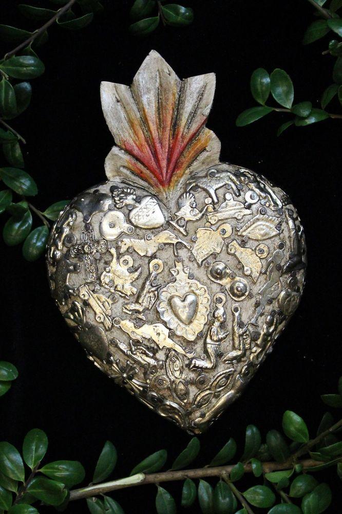 White Sacred Heart Wood Milagro covered, Folk Art Michoacán Mexico, Love Token
