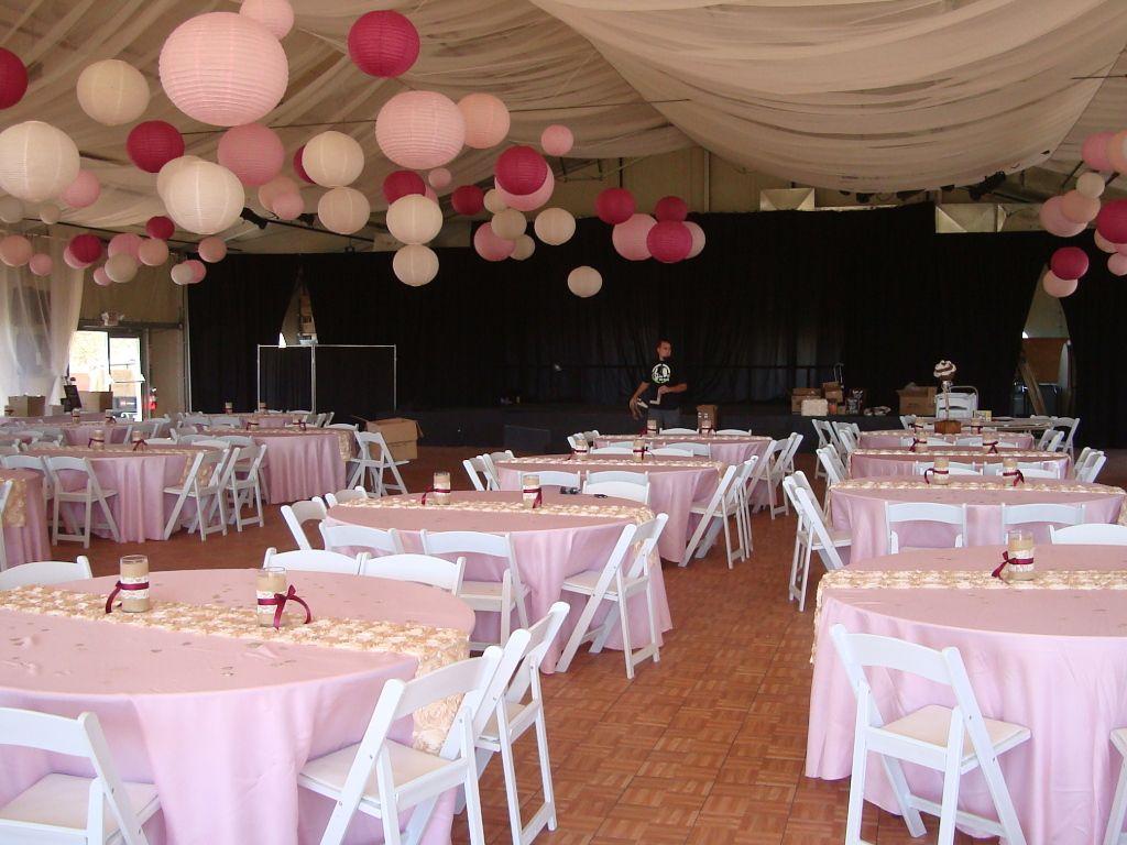Pink and maroon wedding decor  PinkBurlapLace Wedding decor u linens  Paper lanterns u more