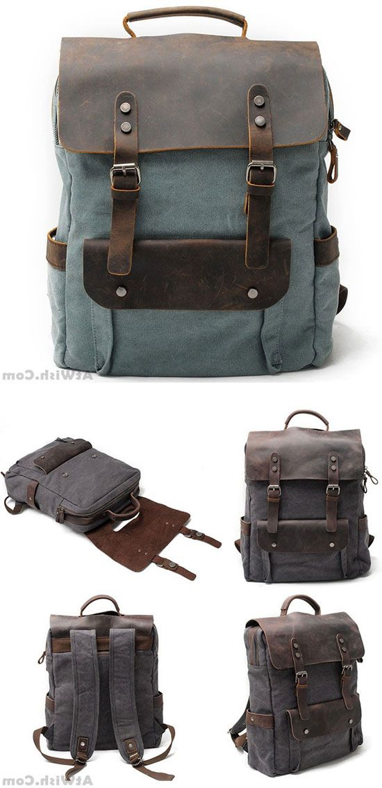 ae33dd12e11e Vintage Large Laptop Thick Canvas Travel Rucksack Bag Splicing Leather  Outdoor Backpacks  backpack  Bag  school