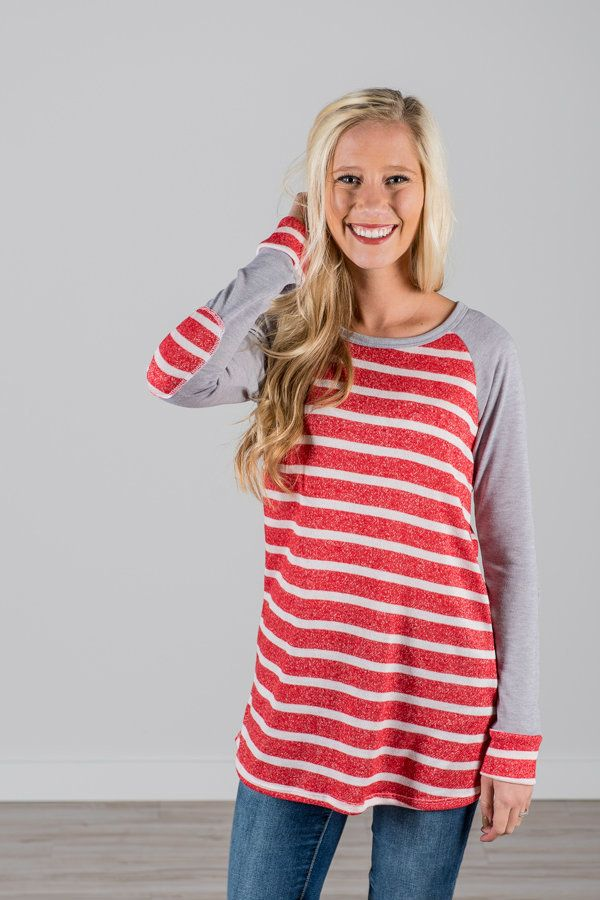 RubyClaire Boutique - Striped Top   Elbow Patch | TOMATO, $32.00 (https://www.rubyclaireboutique.com/striped-top-elbow-patch-tomato/)