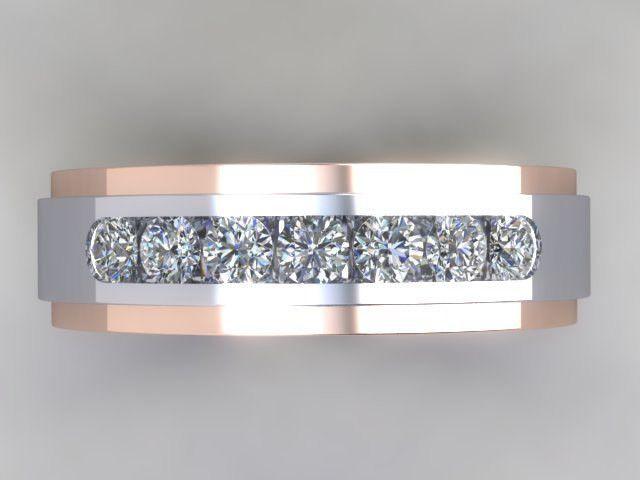Custom Hand Crafted 14k White Gold Rose Gold Rail Two Tone Men S Channel Set Diamond Weddi Diamond Wedding Bands Gold Wedding Rings Rose Gold Engagement Ring