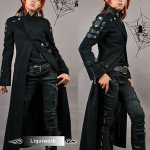 punck trench coats | Black Seventies Punk Rock Gothic Matrix Long ...