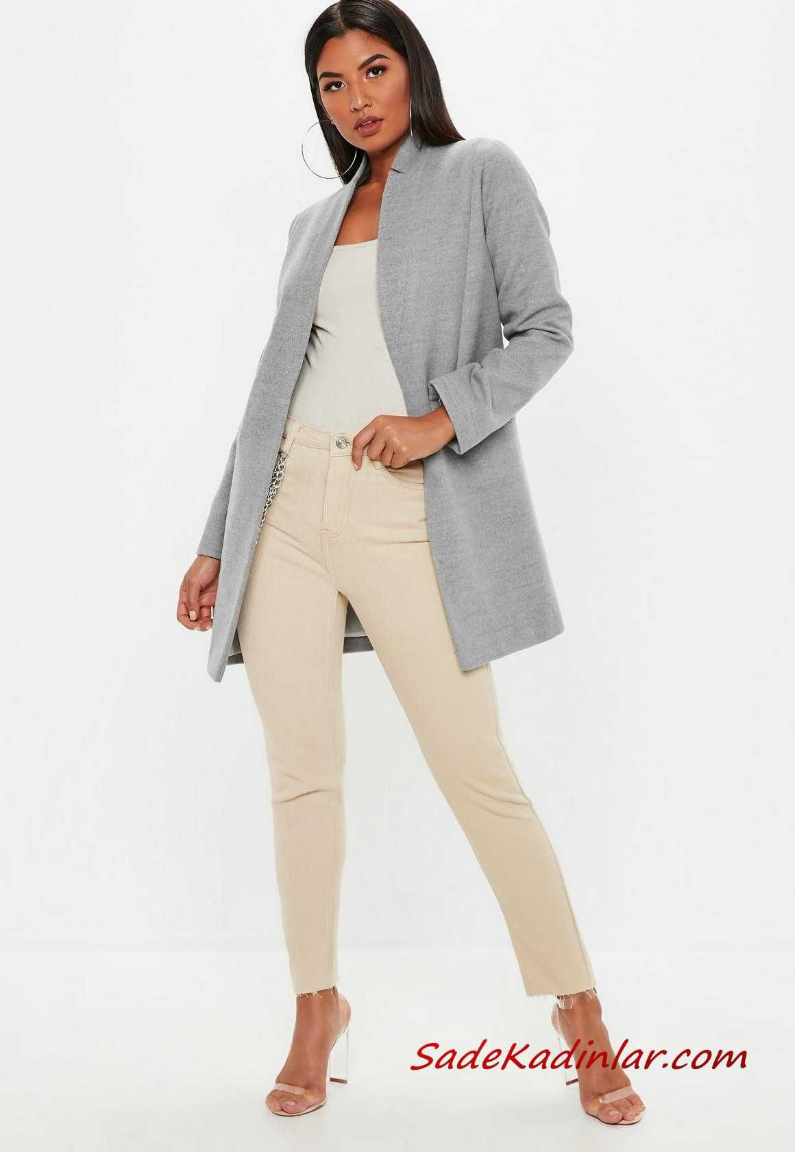 2020 Kis Kombinleri Krem Pantolon Beyaz Bluz Gri Uzun Blazer Ceket Seffaf Stiletto Ayakkabi Blazer Ceket Siyah Dar Pantolon Stiletto