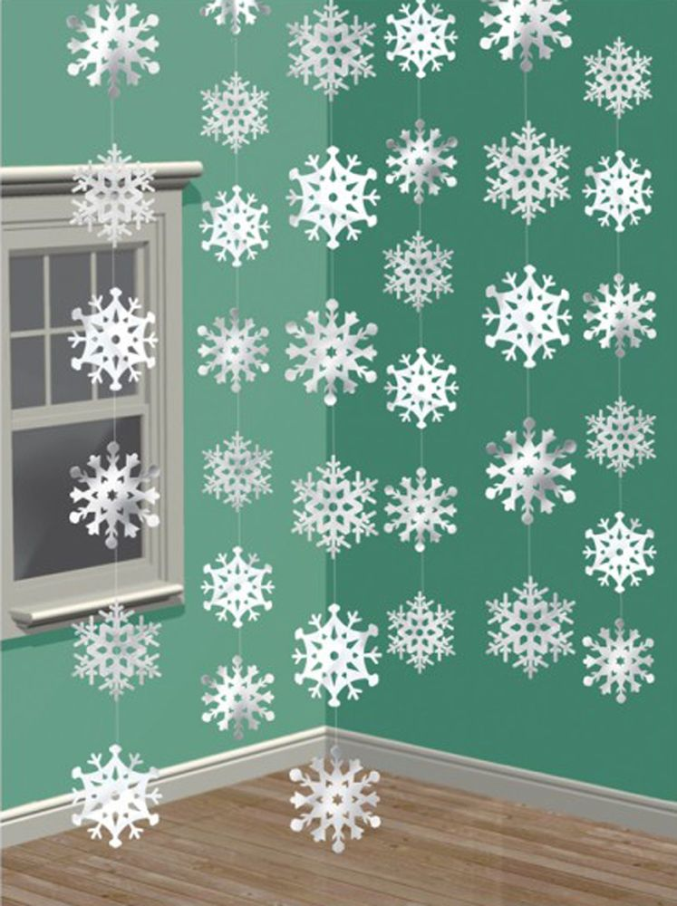 6 X White Silver Snowflake Decoration Hanging Strings Frozen Party
