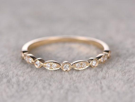 Natural diamonds half eternity wedding ring solid k yellow gold