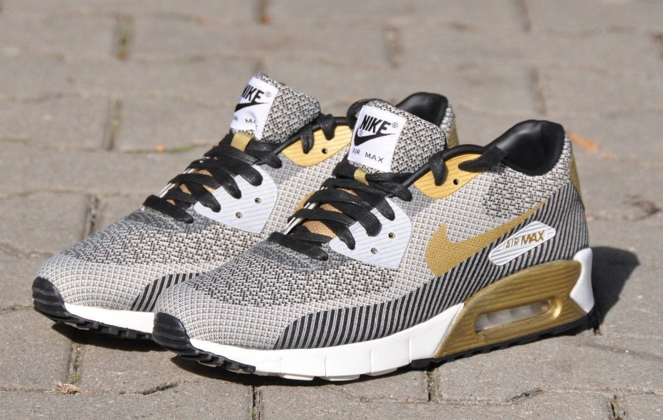 Men's Nike Air Max 90 JCRD PRM Gold Trophy Pack Ivory Gold Black Sneakers : N100z4699