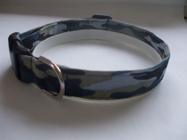Handmade Cotton Dog Collar - Black, Blue and Olive Camoflauge by WalkingTheDog on Etsy