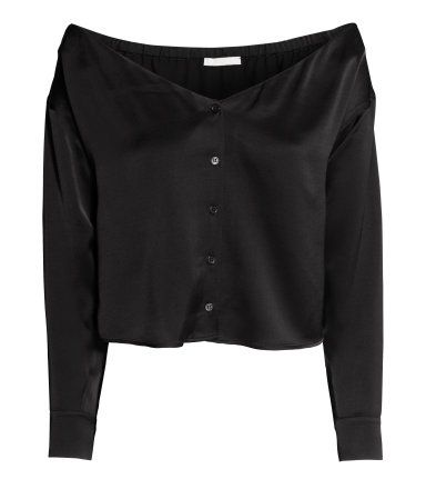 Black. Cropped, off-the-shoulder blouse in satin with a V-neck, elasticated edge at the back, buttons down the front and long sleeves with buttoned cuffs.