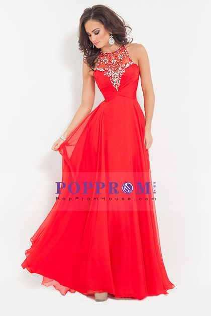 2015 new arrival princess scoop chiffon prom dresses with ruffles and beads
