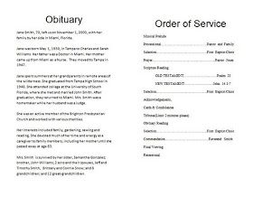 The Funeral Memorial Program Blog: How To Write A Funeral Program Obituary    Template