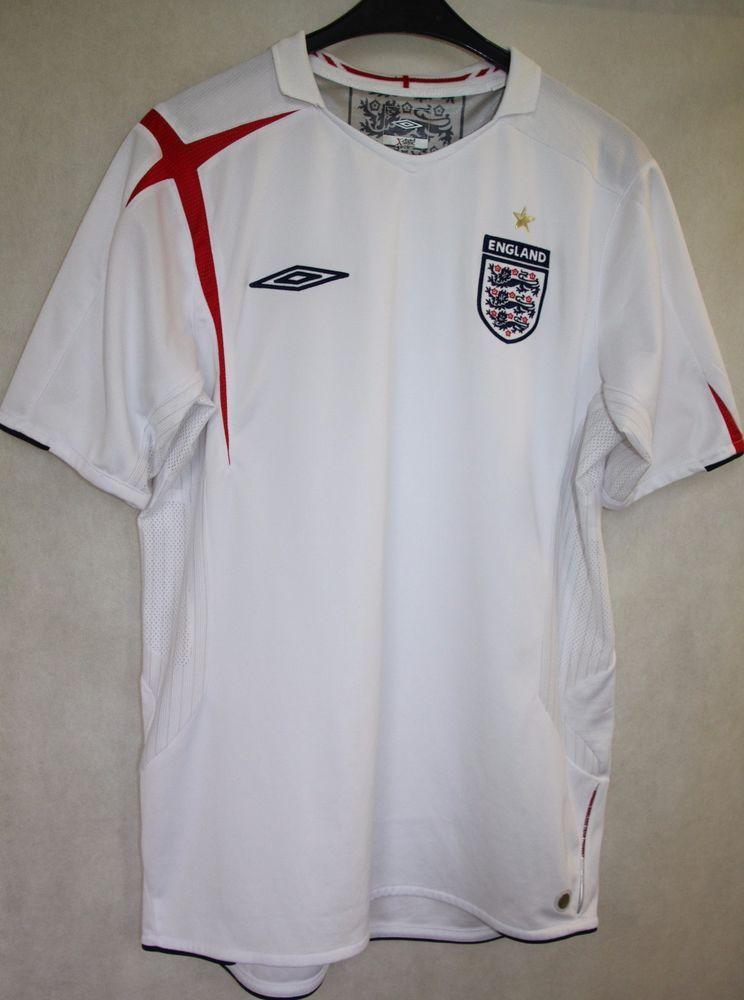 7384b8ae468 GENUINE ENGLAND TEAM FOOTBALL 2005/2007 UMBRO HOME SHIRT JERSEY sz M EXC  COND #Umbro