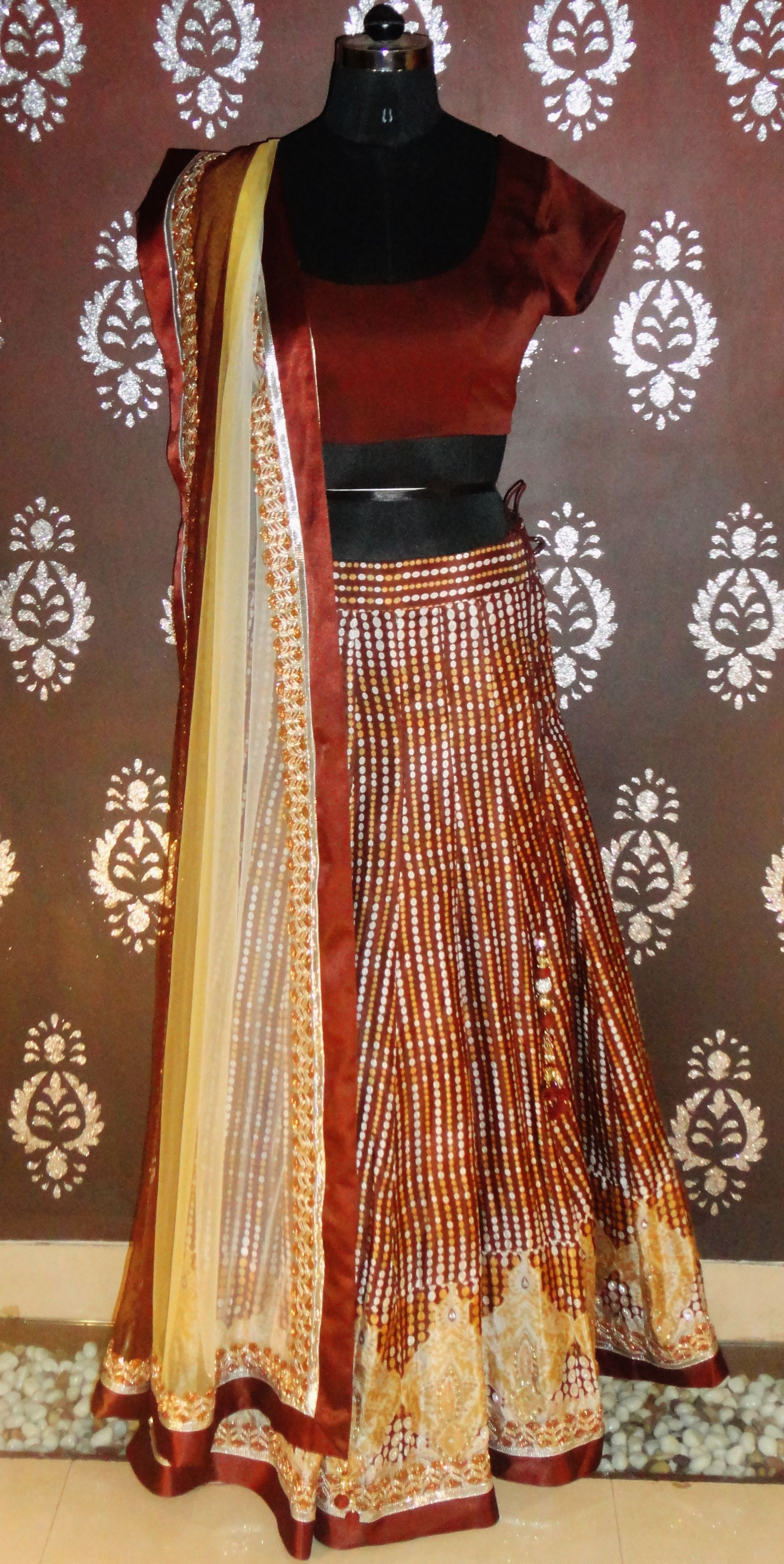 Indian#Bollywood Fashion#Ghagra Choli# Brown# Printed ...