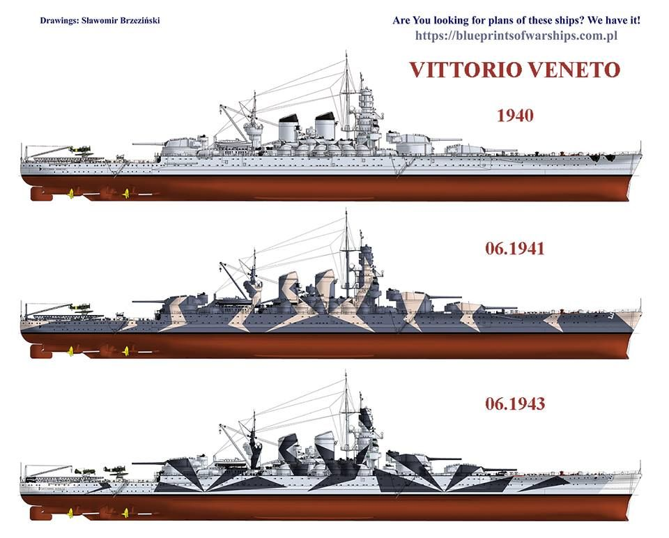Italian    battleship    Vittorio Veo   Warships    Diagram