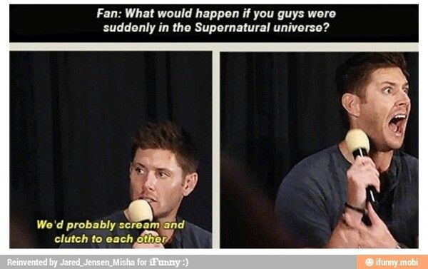 What would happen if Jensen and Jared were suddenly in the Supernatural universe....Hahahaha, his face!