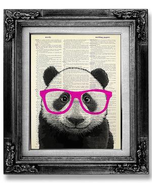 Affiche panda lunettes rose fluo d co d coration for Accessoire deco chambre