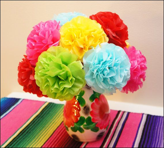 Fiesta Tissue Paper Flowers 12 Count Etsy Mexican Party Theme Mexican Theme Baby Shower Mexican Baby Shower