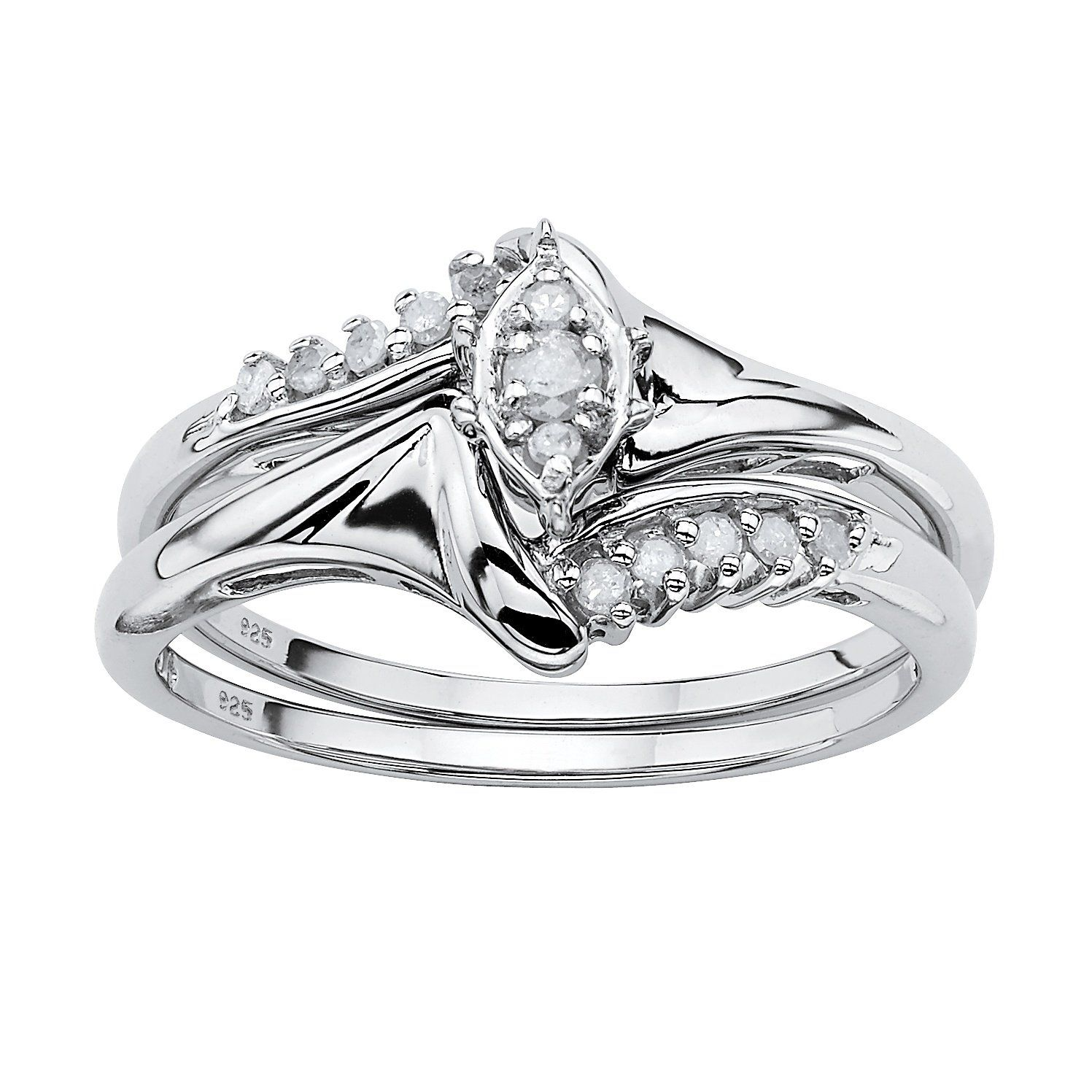 White Diamond Platinum over .925 Silver 2-Piece Bridal Ring Set (.19 cttw, I Color, I2-I3 Clarity)