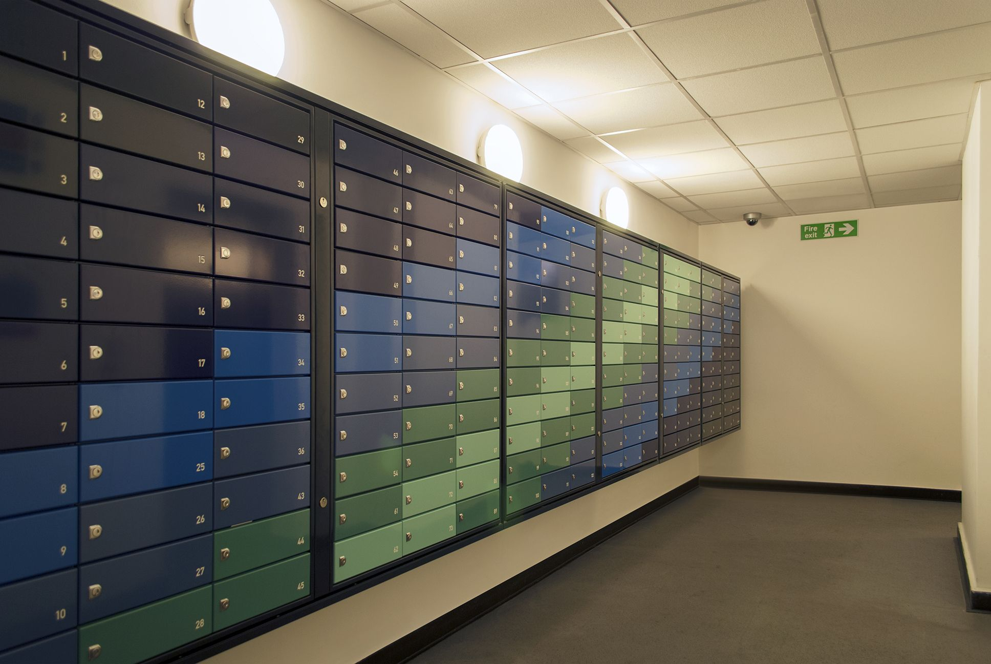 London Westgate Apartments Multiple Mailboxes Colourful Pigeon Holes Postboxes With Images Lobby Design Mailbox Design Residential Design