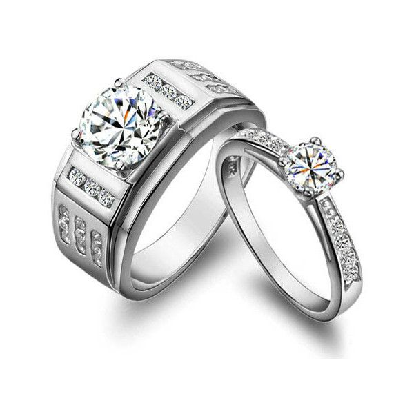 Gullei Trustmart 925 Sterling Silver Luxury Wedding Couple Ring