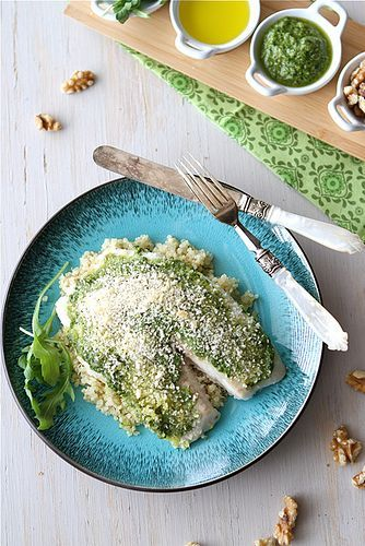 Baked tilapia with arugula walnut pesto and breadcrumb crust baked tilapia in breadcrumbs and pesto recipe food network recipes tuna recipes indian forumfinder Image collections