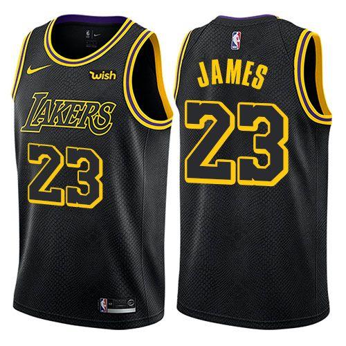 02a48fa937c Nike Lakers  23 LeBron James Black Youth NBA Swingman City Edition Jersey