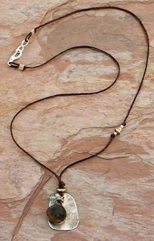 Sterling Center and Smokey Quartz Necklace by Elizabeth Plumb Jewelry