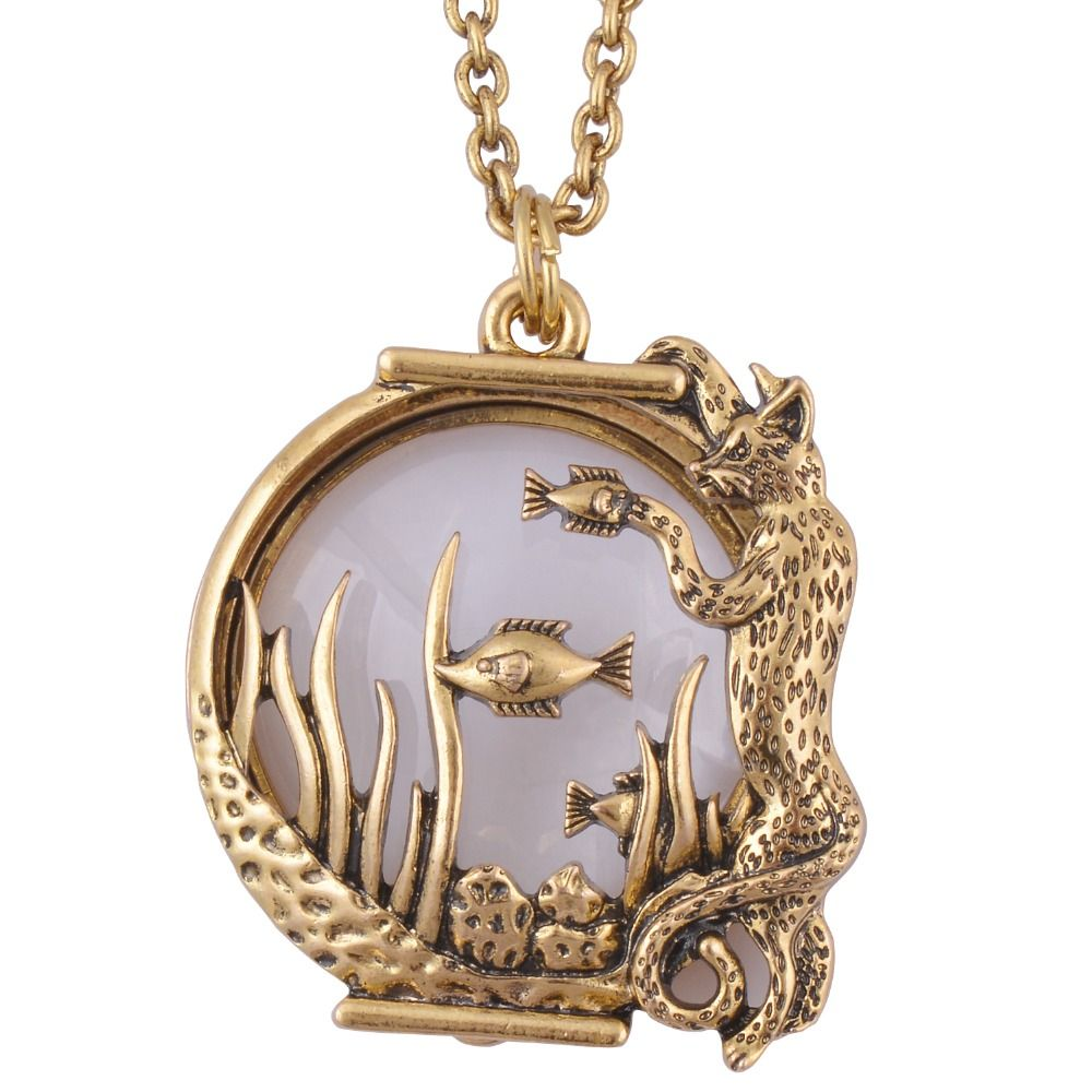 Ocean fish animal style magnifier glass pendant necklace antique ocean fish animal style magnifier glass pendant necklace antique gold jewelry with magnet closes and opens aloadofball Gallery
