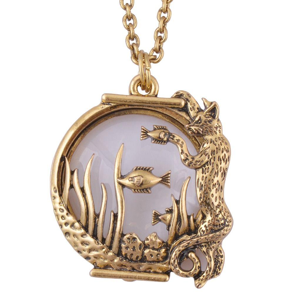 Ozean fisch Tier stil lupe glas anhänger halskette antikes gold