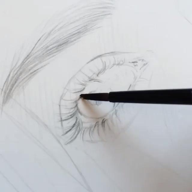 Realistic Watercolor Drawing Woman Face Portrait D