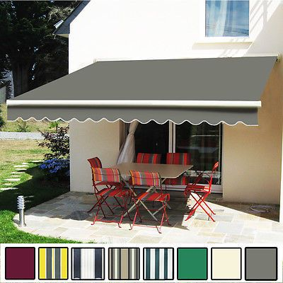 3.5 x 2.5m Manual Awning Garden Patio Shelter Sun Shade Retractable Greenbay & 3.5 x 2.5m Manual Awning Garden Patio Shelter Sun Shade ...