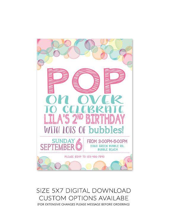 Bubble Theme Birthday Party Invitation 5x7 Etsy Bubble Birthday Parties Bubble Birthday Bubble Party